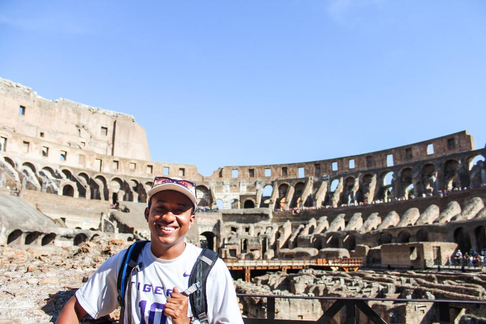 LSU student at Roman Coliseum